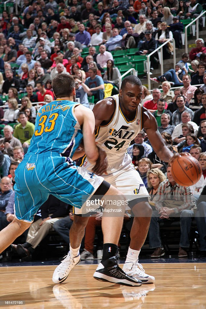 Paul Millsap #24 of the Utah Jazz drives baseline againsts the New Orleans Hornets at Energy Solutions Arena on January 30, 2013 in Salt Lake City, Utah.