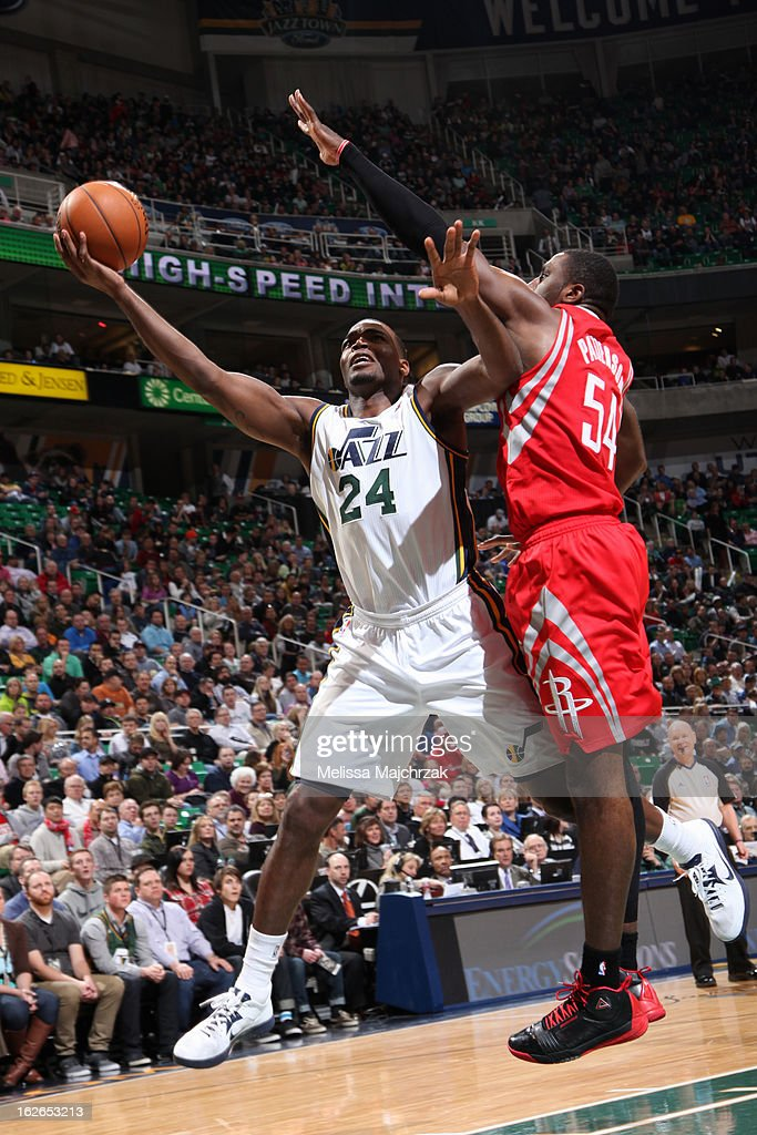 <a gi-track='captionPersonalityLinkClicked' href=/galleries/search?phrase=Paul+Millsap&family=editorial&specificpeople=880017 ng-click='$event.stopPropagation()'>Paul Millsap</a> #24 of the Utah Jazz drives to the basket against the Houston Rockets at Energy Solutions Arena on January 28, 2013 in Salt Lake City, Utah.