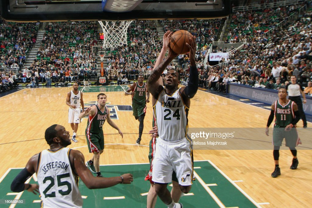 <a gi-track='captionPersonalityLinkClicked' href=/galleries/search?phrase=Paul+Millsap&family=editorial&specificpeople=880017 ng-click='$event.stopPropagation()'>Paul Millsap</a> #24 of the Utah Jazz drives to the basket against the Milwaukee Bucks at Energy Solutions Arena on February 06, 2013 in Salt Lake City, Utah.