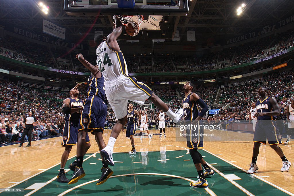 <a gi-track='captionPersonalityLinkClicked' href=/galleries/search?phrase=Paul+Millsap&family=editorial&specificpeople=880017 ng-click='$event.stopPropagation()'>Paul Millsap</a> #24 of the Utah Jazz dunks against the Indiana Pacers at Energy Solutions Arena on January 26, 2013 in Salt Lake City, Utah.