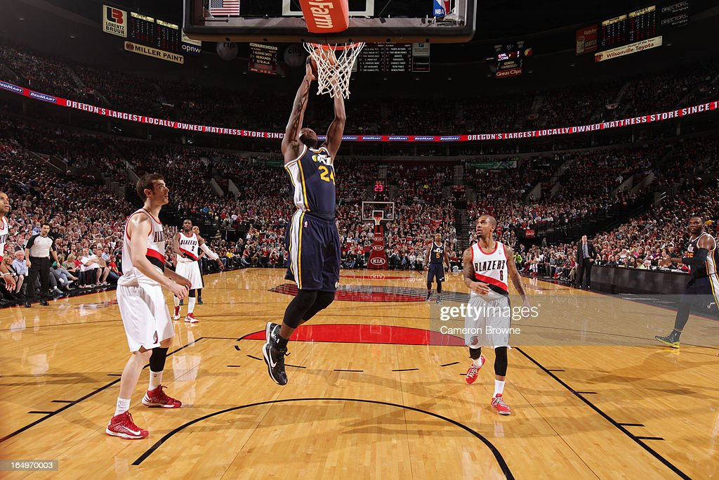 <a gi-track='captionPersonalityLinkClicked' href=/galleries/search?phrase=Paul+Millsap&family=editorial&specificpeople=880017 ng-click='$event.stopPropagation()'>Paul Millsap</a> #24 of the Utah Jazz dunks against the Portland Trail Blazers on March 29, 2013 at the Rose Garden Arena in Portland, Oregon.