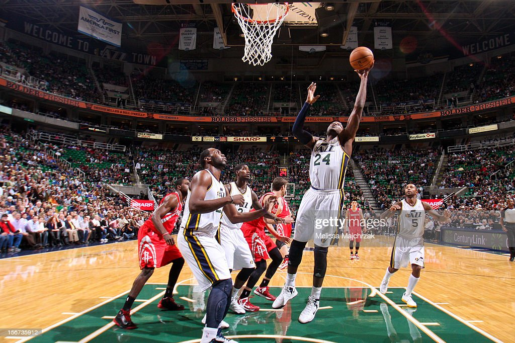 Paul Millsap #24 of the Utah Jazz grabs a rebound against the Houston Rockets at Energy Solutions Arena on November 19, 2012 in Salt Lake City, Utah.