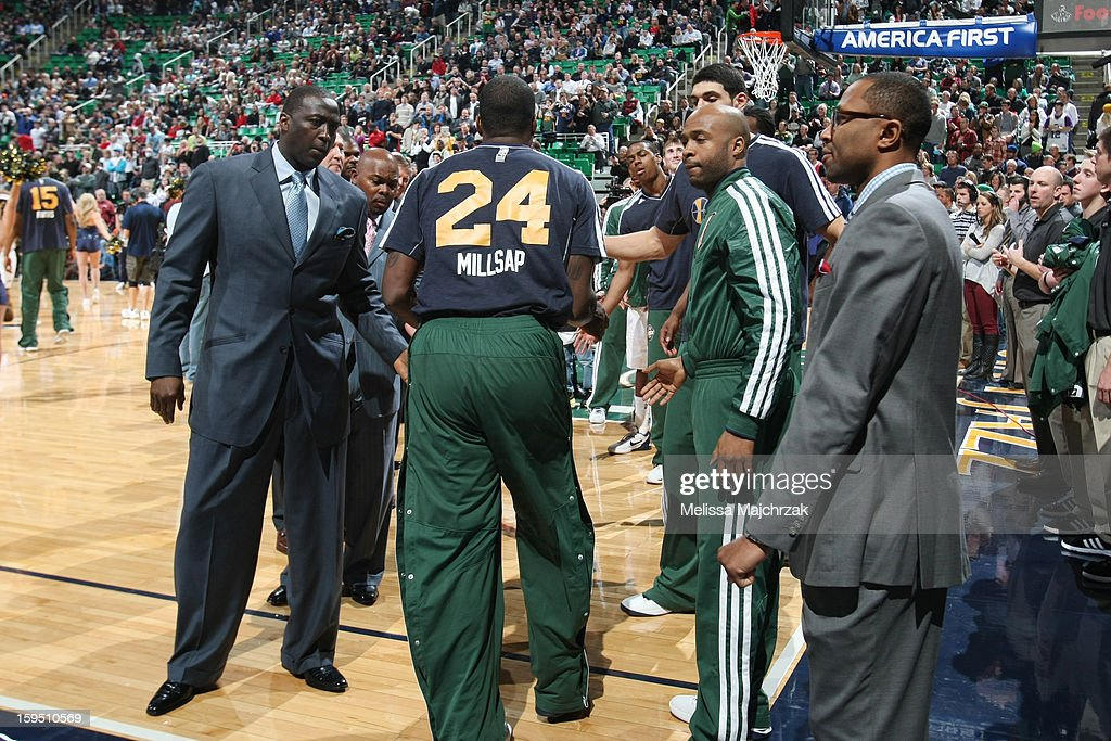 Paul Millsap #24 of the Utah Jazz is welcomed to the court by his team prior to their matchup against the Miami Heat at Energy Solutions Arena on January 14, 2013 in Salt Lake City, Utah.