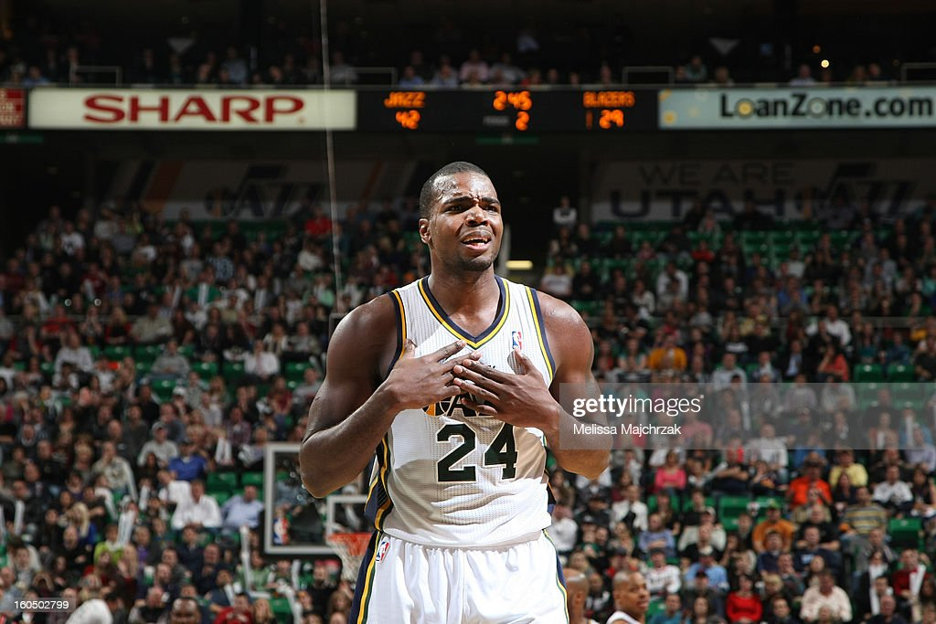 <a gi-track='captionPersonalityLinkClicked' href=/galleries/search?phrase=Paul+Millsap&family=editorial&specificpeople=880017 ng-click='$event.stopPropagation()'>Paul Millsap</a> #24 of the Utah Jazz reacts to a call during play against of the Portland Trail Blazers at Energy Solutions Arena on February 01, 2013 in Salt Lake City, Utah.