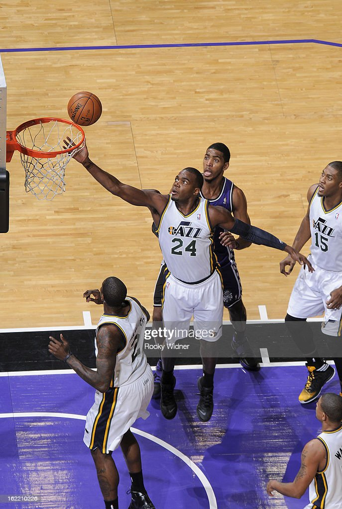 <a gi-track='captionPersonalityLinkClicked' href=/galleries/search?phrase=Paul+Millsap&family=editorial&specificpeople=880017 ng-click='$event.stopPropagation()'>Paul Millsap</a> #24 of the Utah Jazz rebounds against Jason Thompson #34 of the Sacramento Kings on February 9, 2013 at Sleep Train Arena in Sacramento, California.