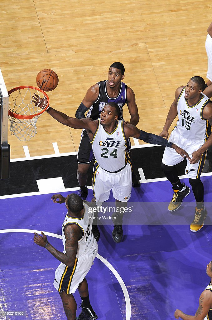 <a gi-track='captionPersonalityLinkClicked' href=/galleries/search?phrase=Paul+Millsap&family=editorial&specificpeople=880017 ng-click='$event.stopPropagation()'>Paul Millsap</a> #24 of the Utah Jazz rebounds against the Sacramento Kings on February 9, 2013 at Sleep Train Arena in Sacramento, California.