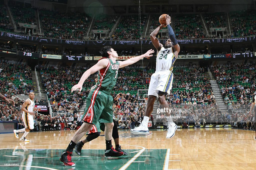 <a gi-track='captionPersonalityLinkClicked' href=/galleries/search?phrase=Paul+Millsap&family=editorial&specificpeople=880017 ng-click='$event.stopPropagation()'>Paul Millsap</a> #24 of the Utah Jazz shoots against <a gi-track='captionPersonalityLinkClicked' href=/galleries/search?phrase=Ersan+Ilyasova&family=editorial&specificpeople=557070 ng-click='$event.stopPropagation()'>Ersan Ilyasova</a> #7 of the Milwaukee Bucks at Energy Solutions Arena on February 06, 2013 in Salt Lake City, Utah.