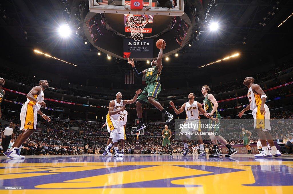 Paul Millsap #24 of the Utah Jazz shoots against the Los Angeles Lakers at Staples Center on December 9, 2012 in Los Angeles, California.