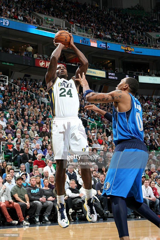 <a gi-track='captionPersonalityLinkClicked' href=/galleries/search?phrase=Paul+Millsap&family=editorial&specificpeople=880017 ng-click='$event.stopPropagation()'>Paul Millsap</a> #24 of the Utah Jazz takes a shot against the Dallas Mavericks on January 7, 2013 in Salt Lake City, Utah.