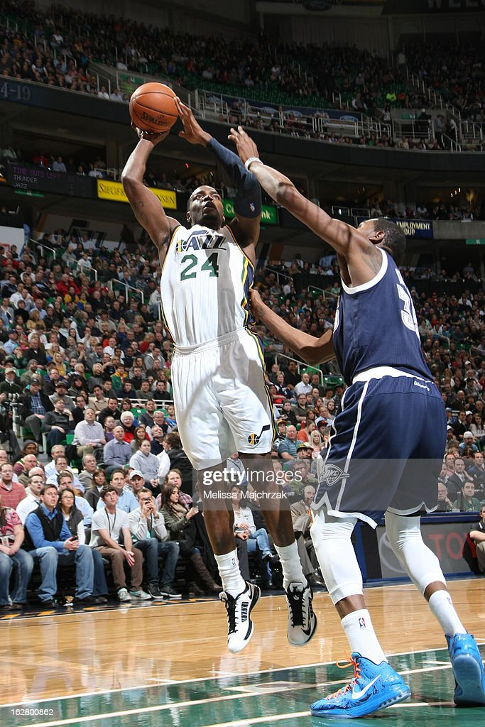 <a gi-track='captionPersonalityLinkClicked' href=/galleries/search?phrase=Paul+Millsap&family=editorial&specificpeople=880017 ng-click='$event.stopPropagation()'>Paul Millsap</a> #24 of the Utah Jazz takes a shot against the Oklahoma City Thunder on February 12, 2013 in Salt Lake City, Utah.
