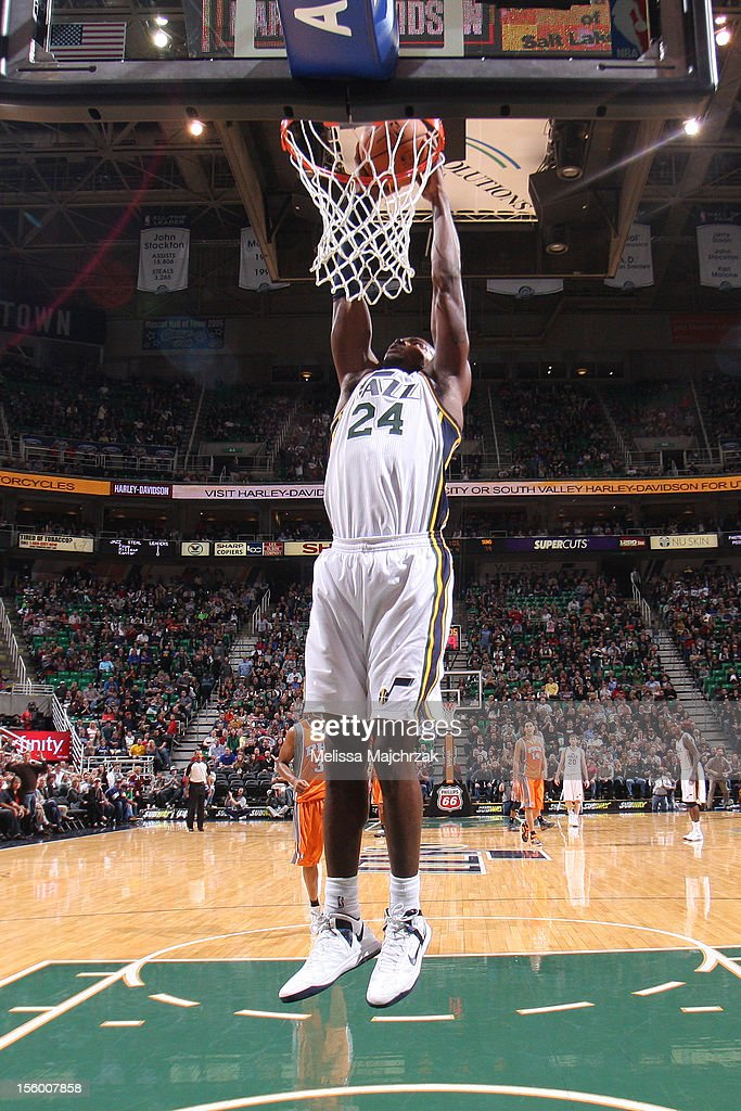 <a gi-track='captionPersonalityLinkClicked' href=/galleries/search?phrase=Paul+Millsap&family=editorial&specificpeople=880017 ng-click='$event.stopPropagation()'>Paul Millsap</a> #24 of the Utah Jazz with a dunk against the Phoenix Suns at Energy Solutions Arena on November 10, 2012 in Salt Lake City, Utah.