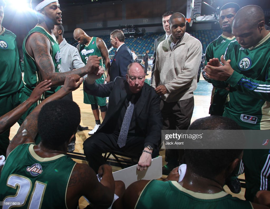 Paul Mokeski head coach of the Reno Bighorns encourages his team during a timeout while playing against the Springfield Armor during the 2013 NBA D-League Showcase on January 7, 2013 at the Reno Events Center in Reno, Nevada.