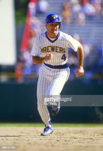 Paul Molitor of the Milwaukee Brewers runs the bases during an MLB game at County Stadium in Milwaukee Wisconsin Molitor played for the Brewers from...