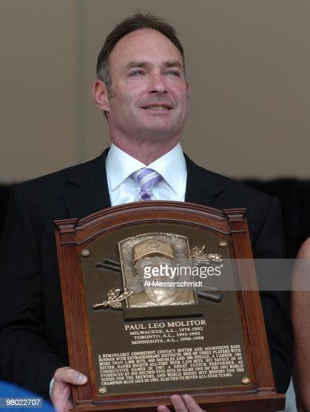 Paul Molitor poses with his plaque at 2004 Baseball Hall of Fame induction ceremonies July 25 2004 in Cooperstown New York