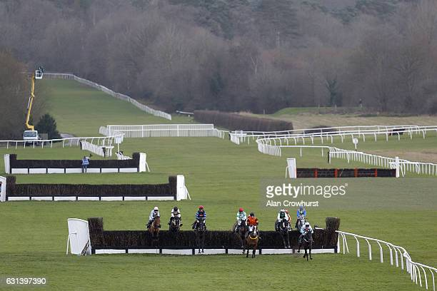 Paul Moloney riding On The Road clear the last to win The Retraining Of Racehorses Novicesâ Handicap Steeple Chase at Lingfield Park on January 10...