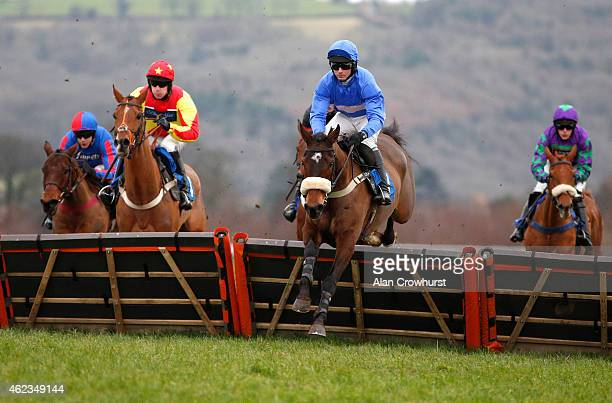 Paul Moloney riding Tornado In Milan on their way to winning The Superman And War Elephant Handicap Hurdle Race at Taunton racecourse on January 27...