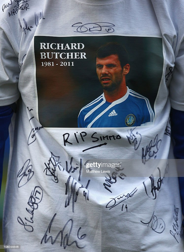 Paul Morgan, captain of Macclesfield Town wears a t-shirt in memory of former player Richard Butcher during the npower League Two match between Macclesfield Town and Barnet at the Moss Rose Stadium on January 22, 2011 in Macclesfield, England.