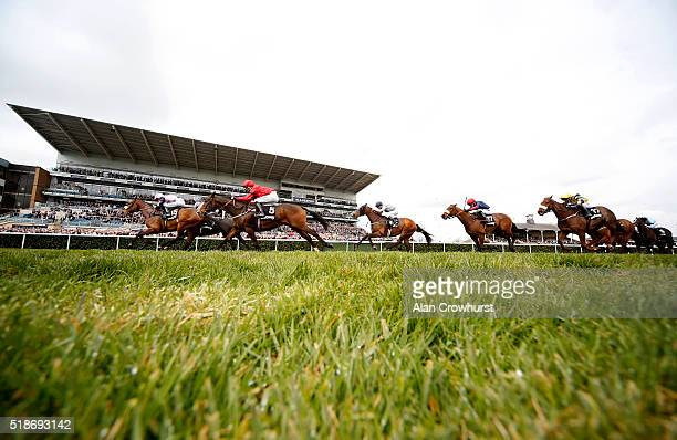 Paul Mulrennan riding Lord Of The Rock win The Betway Spring Mile at Doncaster racecourse on April 02 2016 in Doncaster England