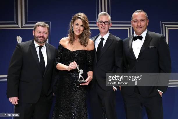 Paul Murray Peta Credlin David Speers and Kieran Gilbert pose with the Logie Award for Most Outstanding News Coverage 'Sky News Election Coverage Sky...