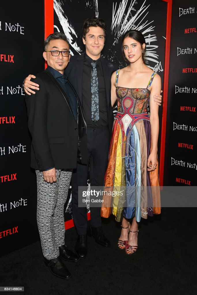 Paul Nakauchi, Nat Wolff, and Margaret Qualley attend the 'Death Note' New York premiere at AMC Loews Lincoln Square 13 theater on August 17, 2017 in New York City.