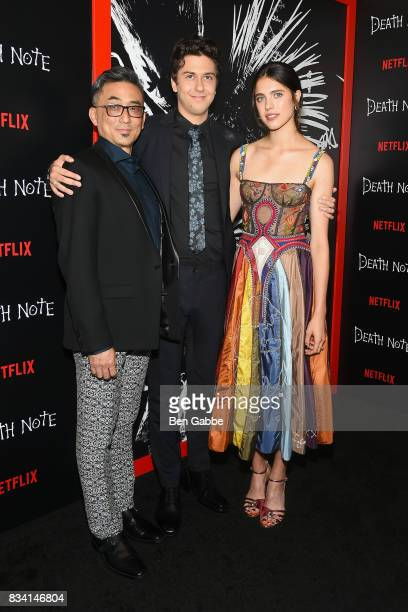 Paul Nakauchi Nat Wolff and Margaret Qualley attend the 'Death Note' New York premiere at AMC Loews Lincoln Square 13 theater on August 17 2017 in...