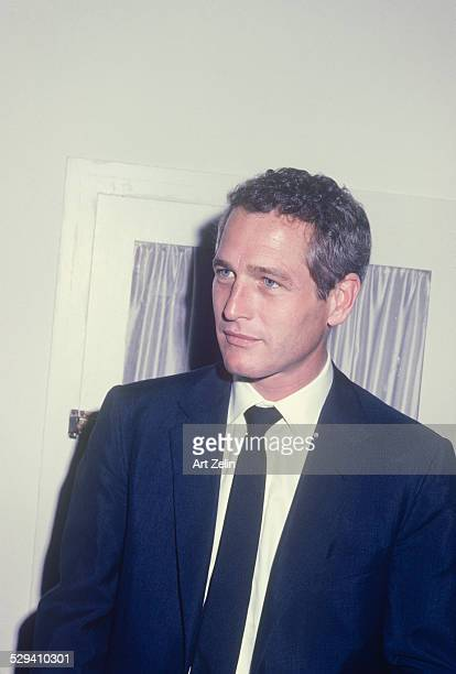 Paul Newman in a navy jacket and tie circa 1960 New York
