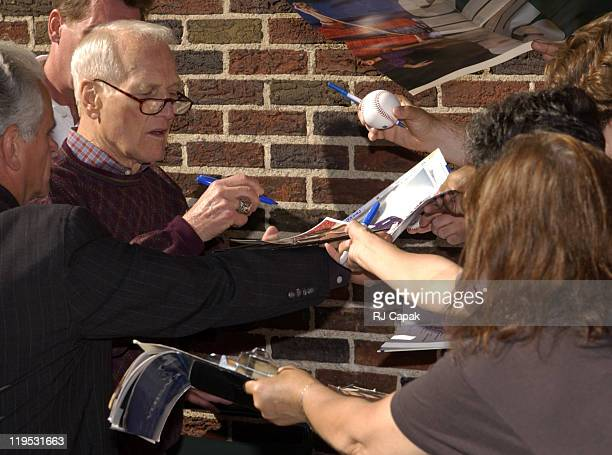 Paul Newman signs for fans outside Letterman Show during Paul Newman Visits the 'Late Show with David Letterman' July 11 2002 in New York City New...