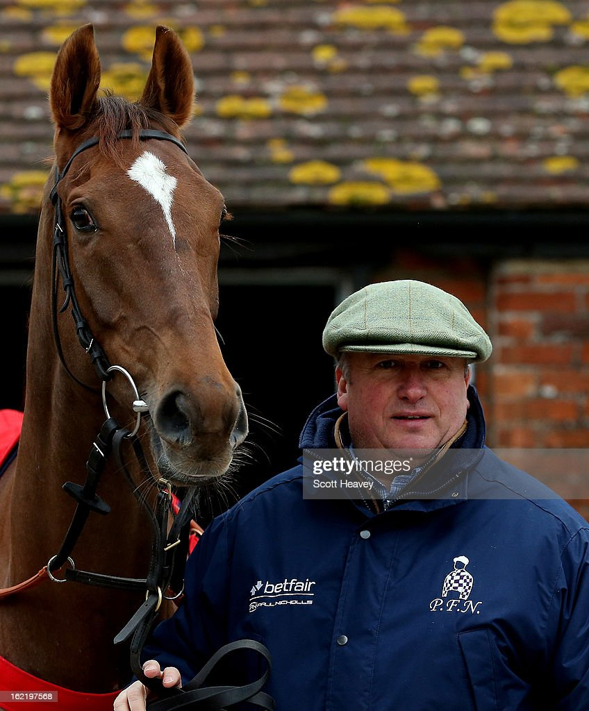 <a gi-track='captionPersonalityLinkClicked' href=/galleries/search?phrase=Paul+Nicholls+-+Horse+Trainer&family=editorial&specificpeople=8009047 ng-click='$event.stopPropagation()'>Paul Nicholls</a> with Silviniaco Conti during a stable visit to Manor Farm Stables on February 20, 2013 in Shepton Mallet, England.