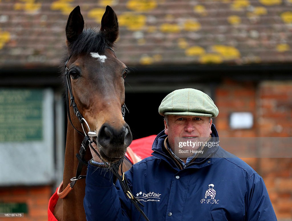 Paul Nicholls with Zarkander during a stable visit to Manor Farm Stables on February 20, 2013 in Shepton Mallet, England.