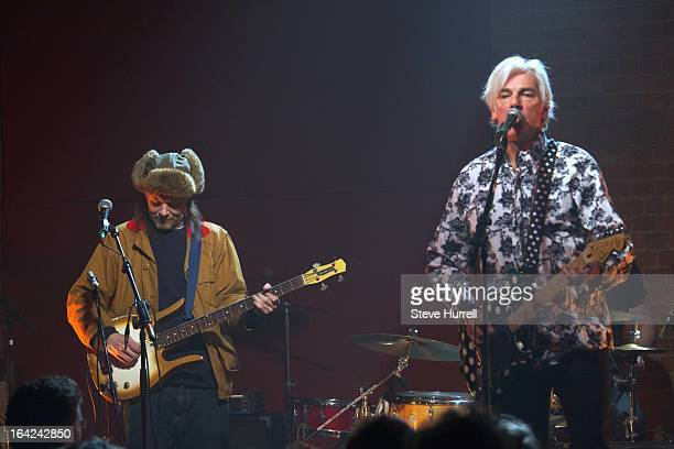 Paul Noble and Robyn Hitchcock perform on stage at A 60th Birthday Tribute To Robyn Hitchcock at Village Underground London 28th February 2013