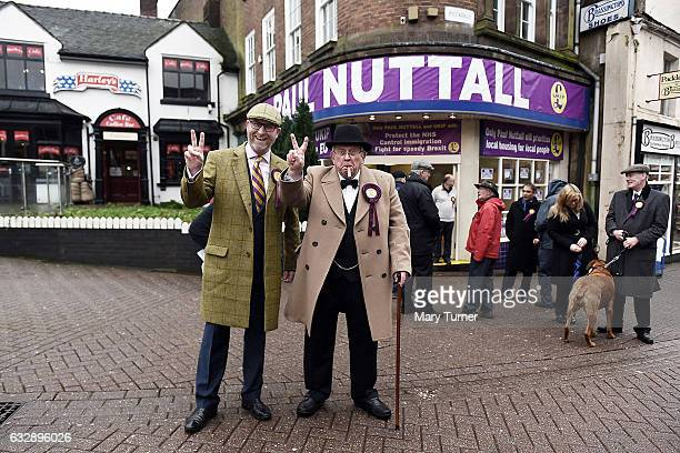 Paul Nuttall leader of UKIP poses with a supporter dressed as Winston Churchill as he launches his campaign to be the Member of Parliament for the...
