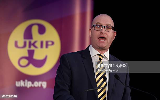 Paul Nuttall makes a speech after being named as the new leader of the UK Independence Party on November 28 2016 in London England The previous...