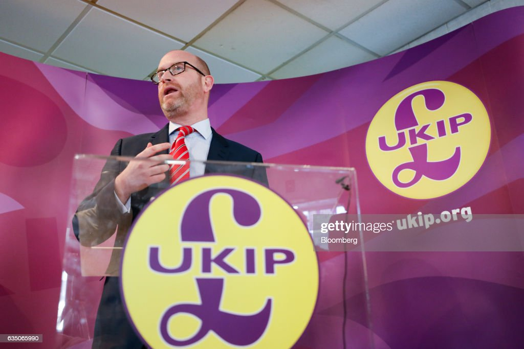 U.K. Independence Party Leader Paul Nutall Attends A By-Election Campaign Event : News Photo