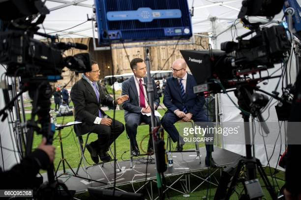 Paul Nuttall the leader of the antiEU UK Independence Party is interviewed near the Houses of Parliament in London on March 29 shortly before British...