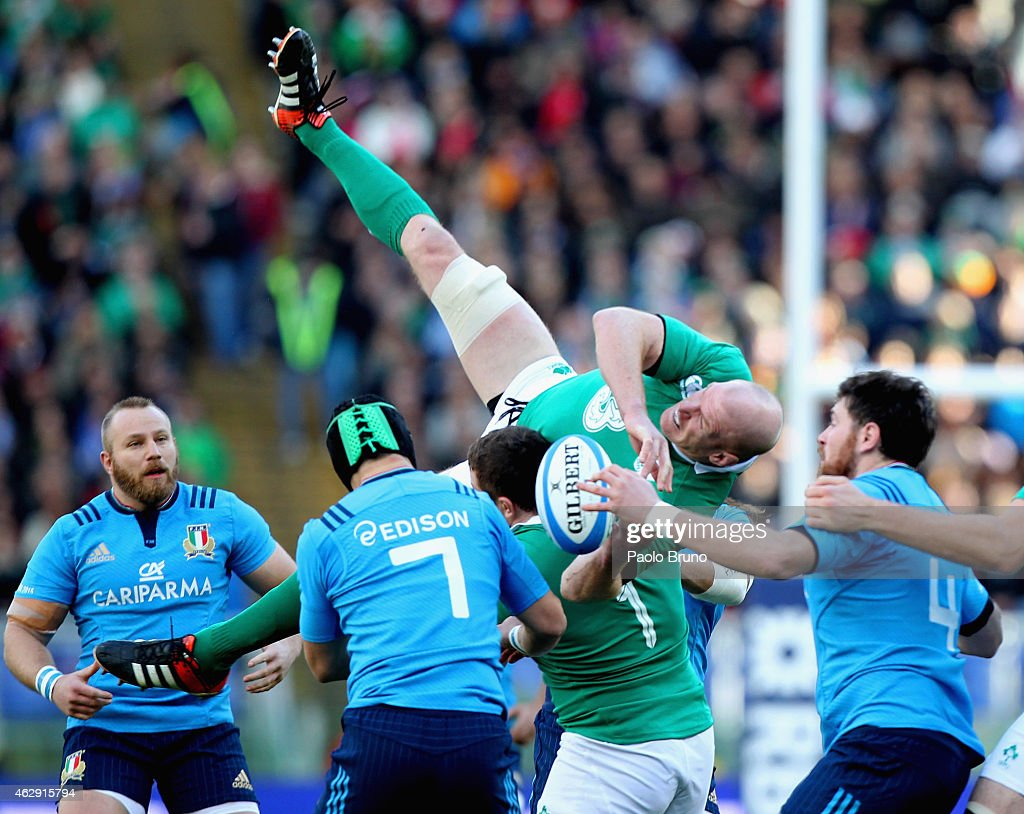 Paul O' Connell of Ireland competes for the ball with Italy players during the RBS Six Nations match between Italy and Ireland at Stadio Olimpico on...