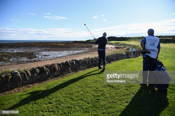 Paul O'Connell former rugby player plays his third shot on the 12th during day three of the 2017 Alfred Dunhill Championship at Kingsbarns on October...