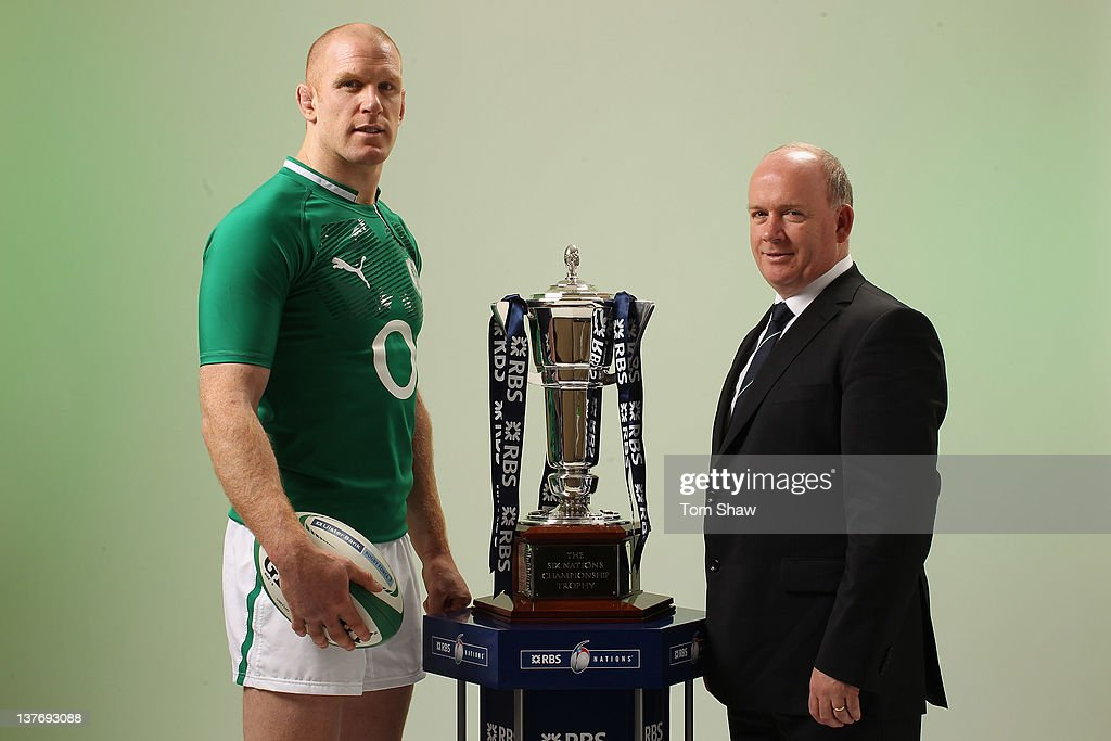 Paul O'Connell of Ireland and Head Coach <a gi-track='captionPersonalityLinkClicked' href=/galleries/search?phrase=Declan+Kidney&family=editorial&specificpeople=626890 ng-click='$event.stopPropagation()'>Declan Kidney</a> of Ireland poses with the RBS Six Nations Trophy during the RBS Six Nations Launch at The Hurlingham Club on January 25, 2012 in London, England.