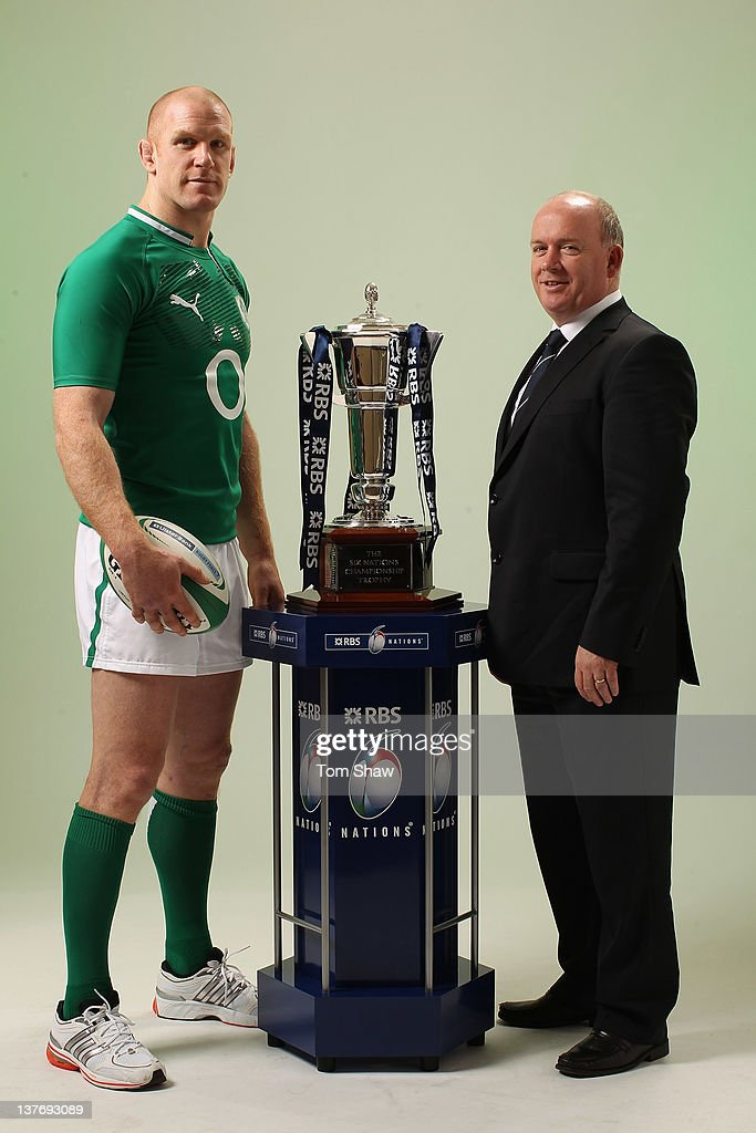 Paul O'Connell of Ireland and Head Coach Declan Kidney of Ireland poses with the RBS Six Nations Trophy during the RBS Six Nations Launch at The Hurlingham Club on January 25, 2012 in London, England.
