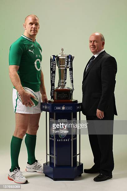 Paul O'Connell of Ireland and Head Coach Declan Kidney of Ireland poses with the RBS Six Nations Trophy during the RBS Six Nations Launch at The...