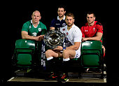 Paul O'Connell of Ireland Greig Laidlaw of Scotland Chris Robshaw of England and Sam Warburton of Wales pose with the trophy during the launch of the...