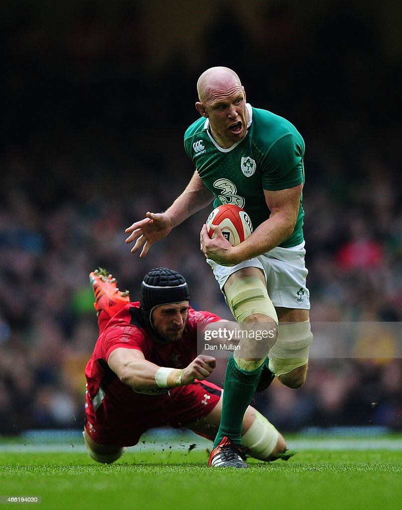 Paul O'Connell of Ireland is tackled by Luke Charteris of Wales during the RBS Six Nations match between Wales and Ireland at Millennium Stadium on March 14, 2015 in Cardiff, Wales.