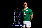 Paul O'Connell of Ireland poses with the trophy during the launch of the 2015 RBS Six Nations at the Hurlingham club on January 28 2015 in London...