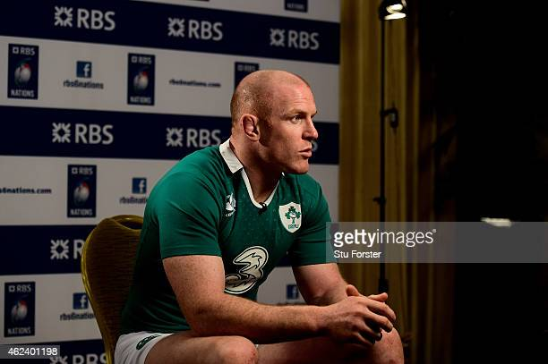 Paul O'Connell of Ireland speaks to the media during the launch of the 2015 RBS Six Nations at the Hurlingham club on January 28 2015 in London...