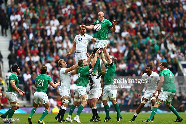 Paul O'Connell of Ireland wins lineout ball under pressure from Chris Robshaw of England during the QBE International match between England and...
