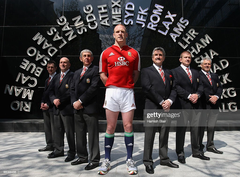 Paul O'Connell of Ireland with the coaching and management staff after being named captain of the squad during the press conference to announce the...