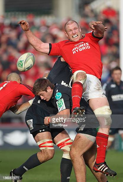 Paul O'Connell of Munster goes for the ball during the Heineken Cup match between Munster and Scarlets at Thomond Park on December 18 2011 in...