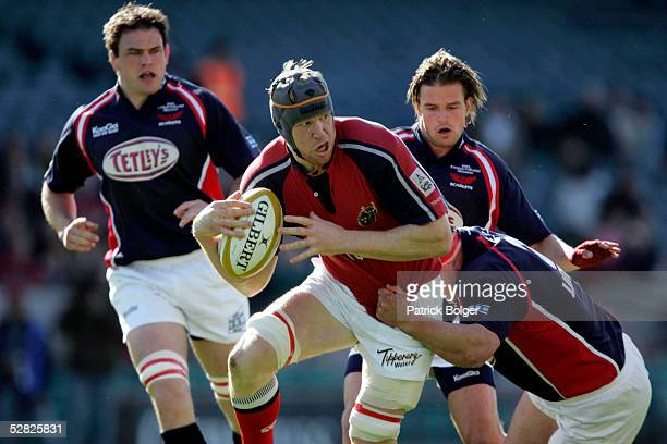 Paul O'Connell of Munster on the attack during the Celtic Cup Final between Munster and Llanelli Scarlets at Lansdowne Road on May 14 2005 in Dublin...