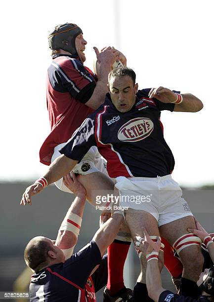 Paul O'Connell of Munster wins the ball from Chris Wyatt of Llanelli during the Celtic Cup Final between Munster and Llanelli Scarlets at Lansdowne...