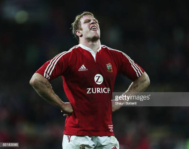 Paul O'Connell of the Lions is dejected at the final whistle at the end of the second test match between New Zealand All Blacks and British and Irish...