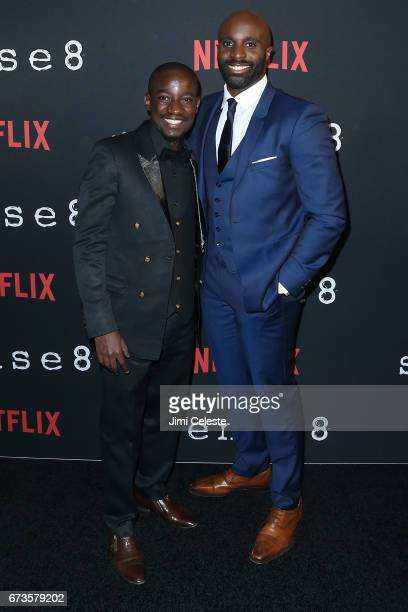 Paul Ogola and Toby Onwumere attend the Season 2 Premiere of Netflix's 'Sense8' at AMC Lincoln Square Theater on April 26 2017 in New York City